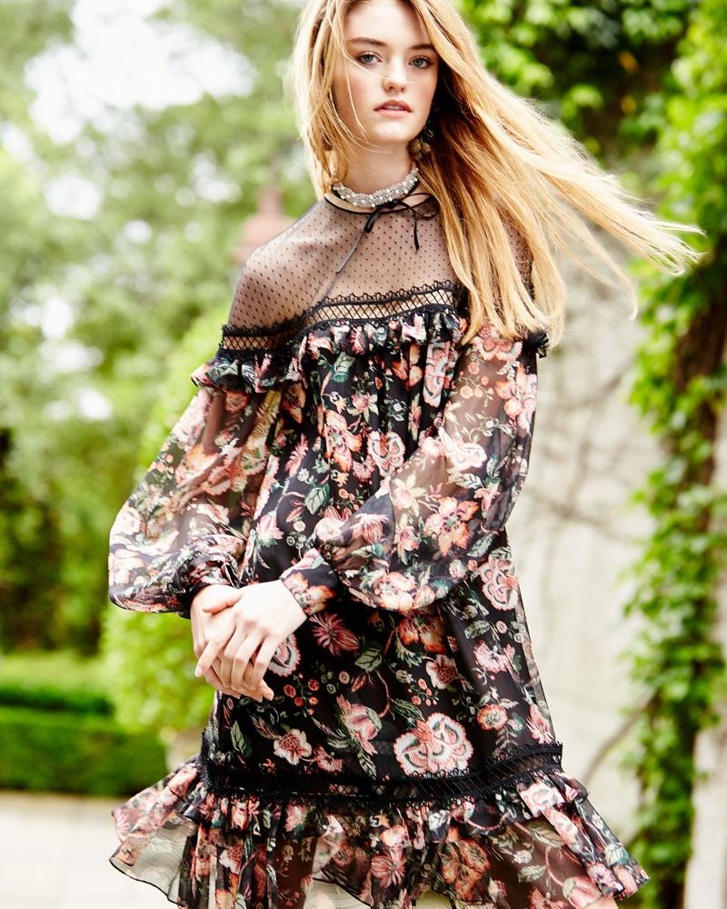 Платье миди с прозрачными рукавами цветочное