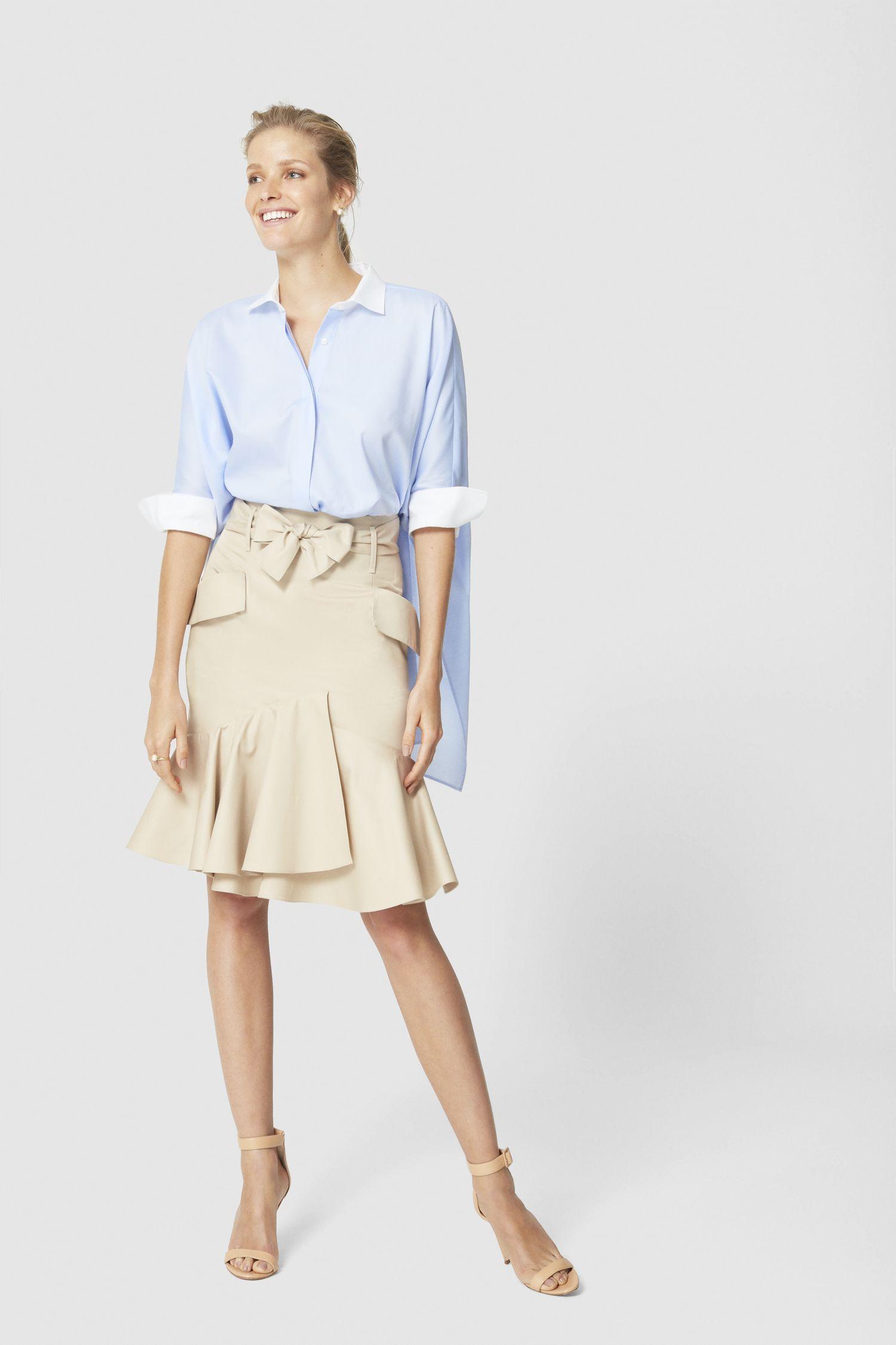 Бежевая юбка с рюшами