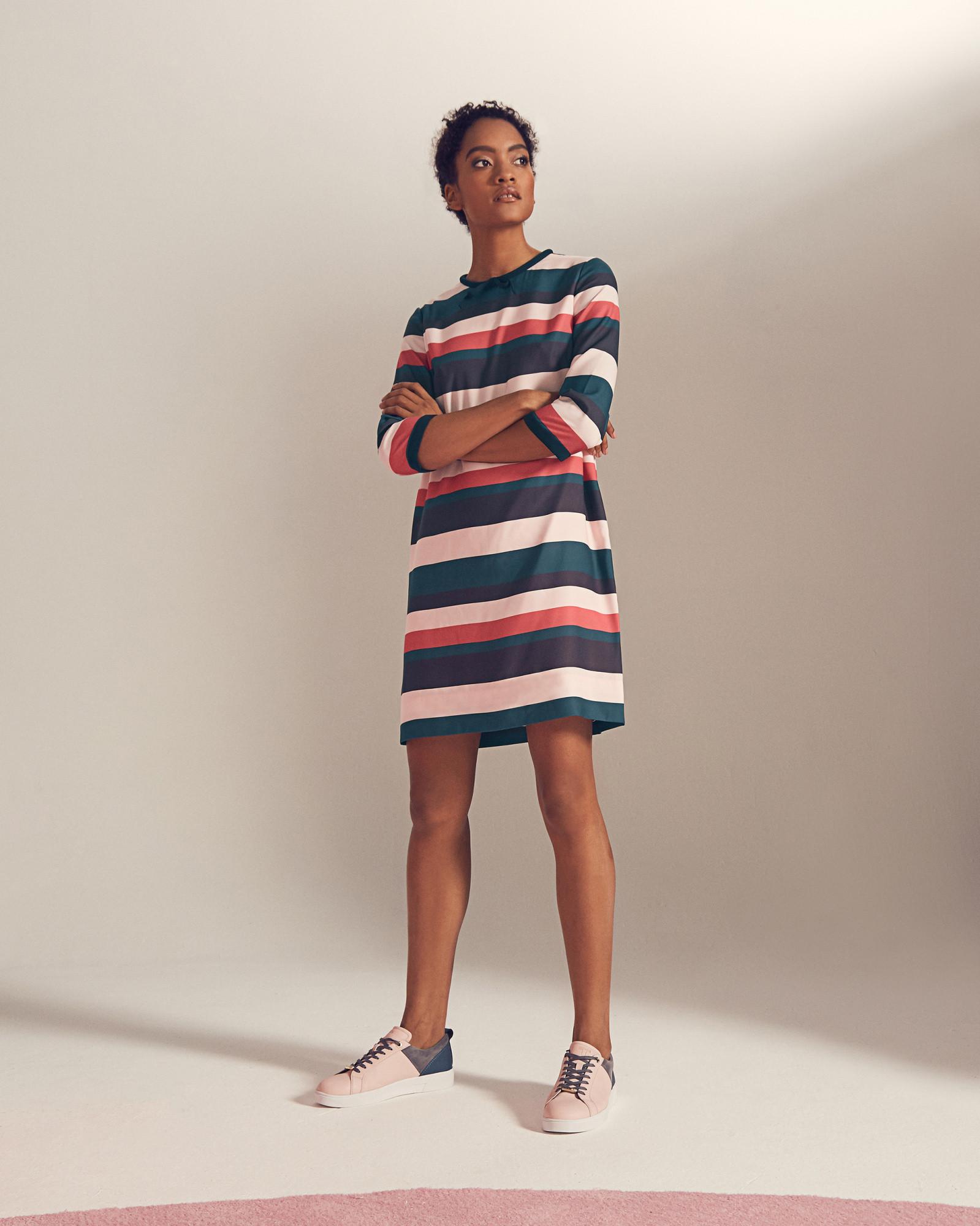 Платье в полоску 2018 разноцветное