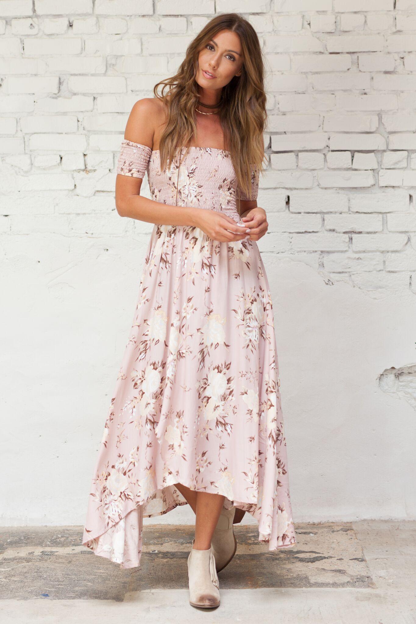 Платье бохо розовое