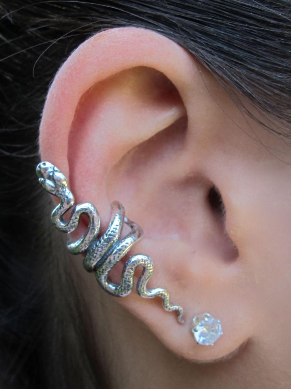 Серьги каффы серебряные в виде змеи