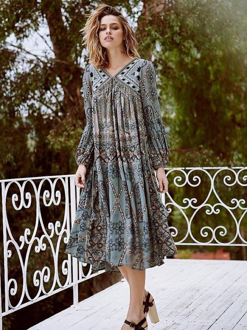 Платье бохо серое