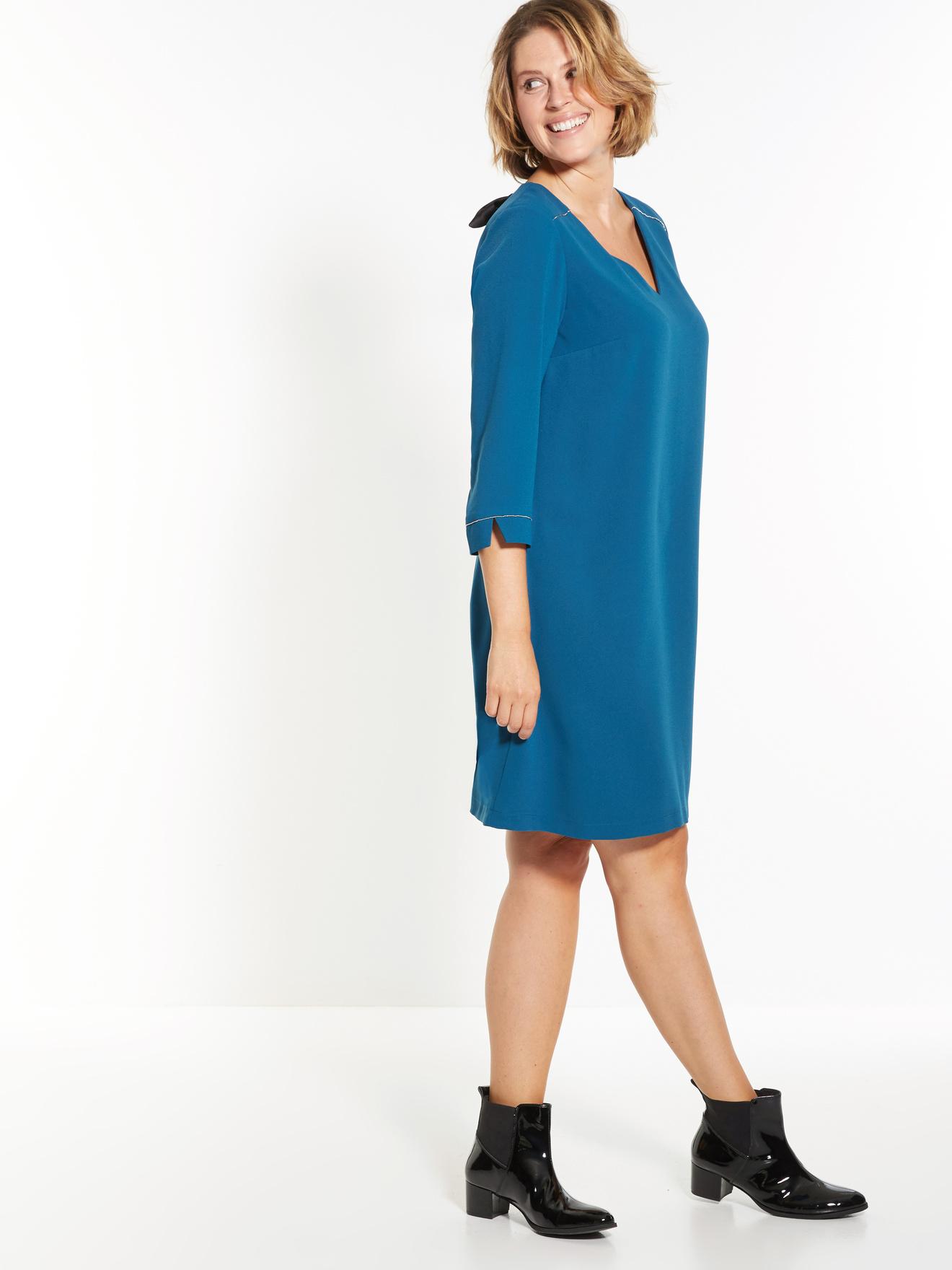 Платье трапеция синее