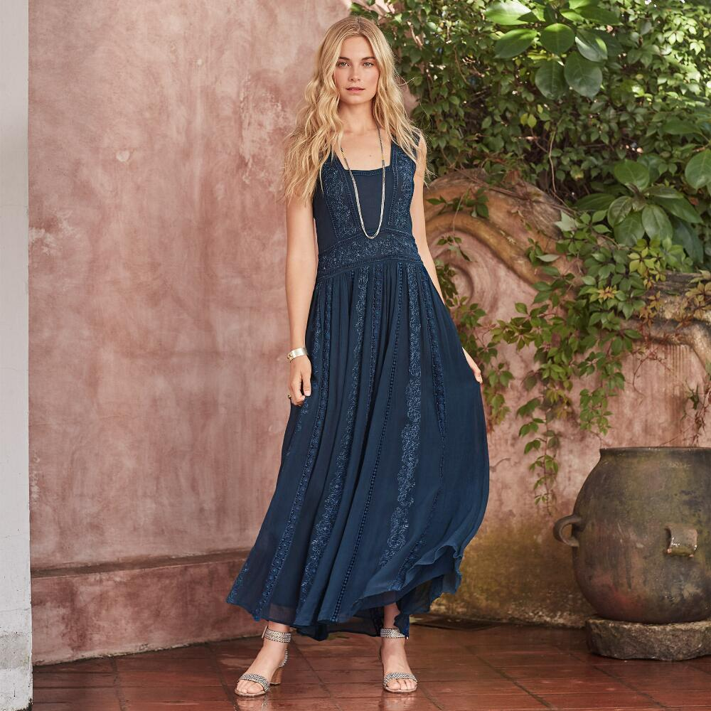 Платье бохо синее