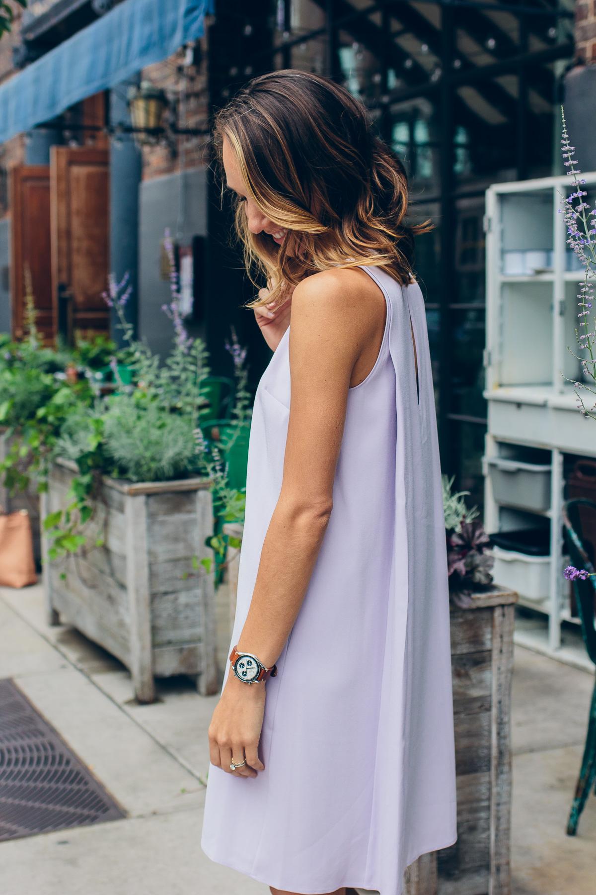 Платье трапеция сиреневое