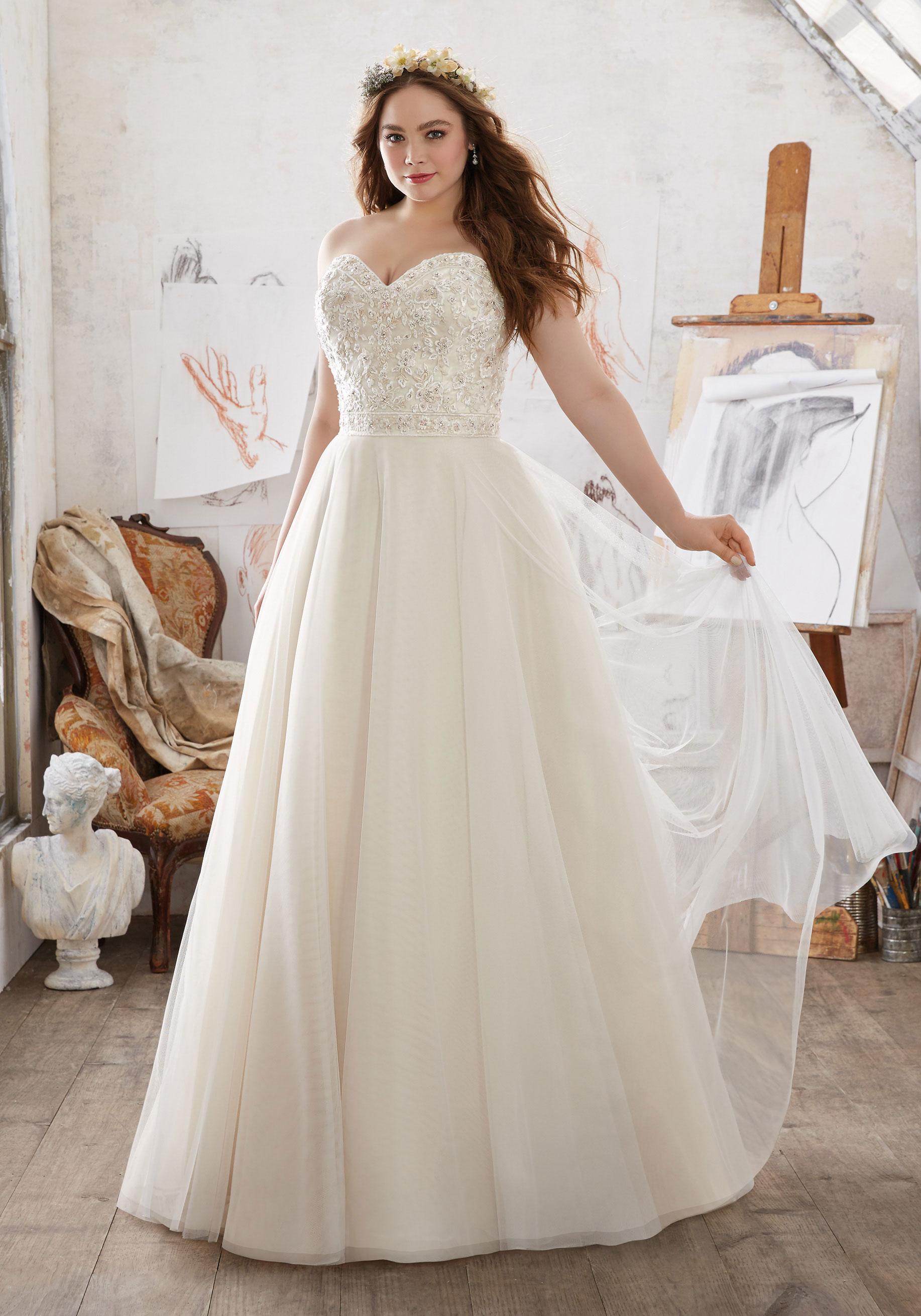 Свадебное платье для полных цвета слоновой кости