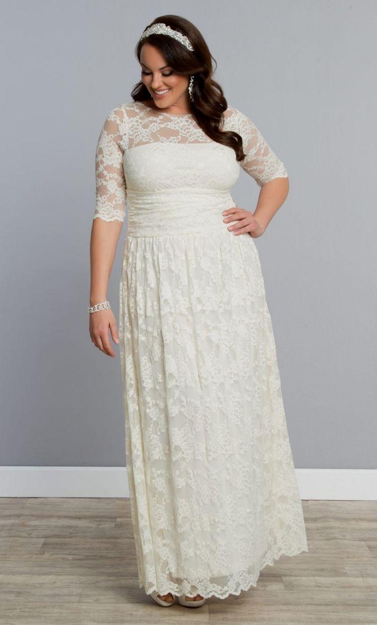 Свадебное платье для полных с рукавом три четверти