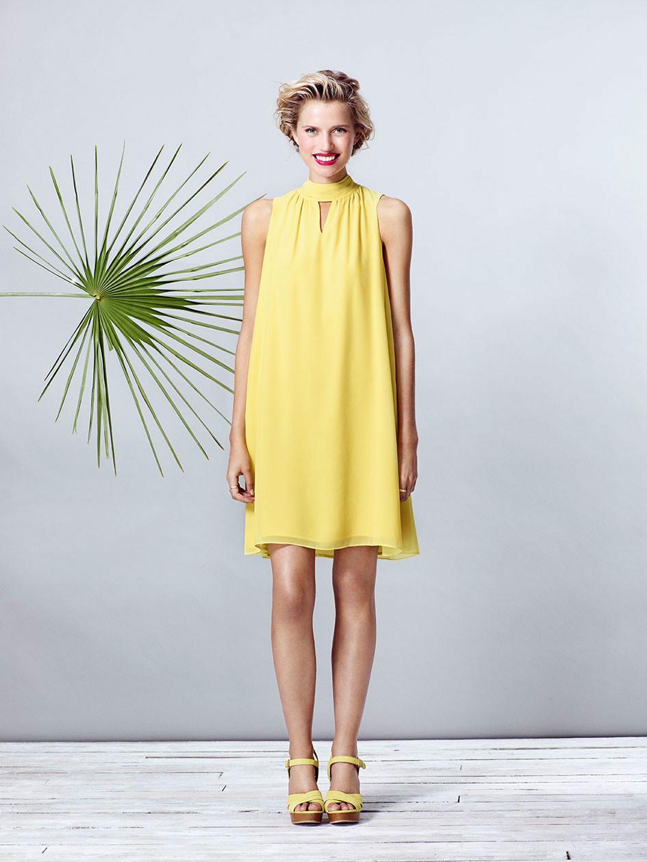 Платье трапеция желтое