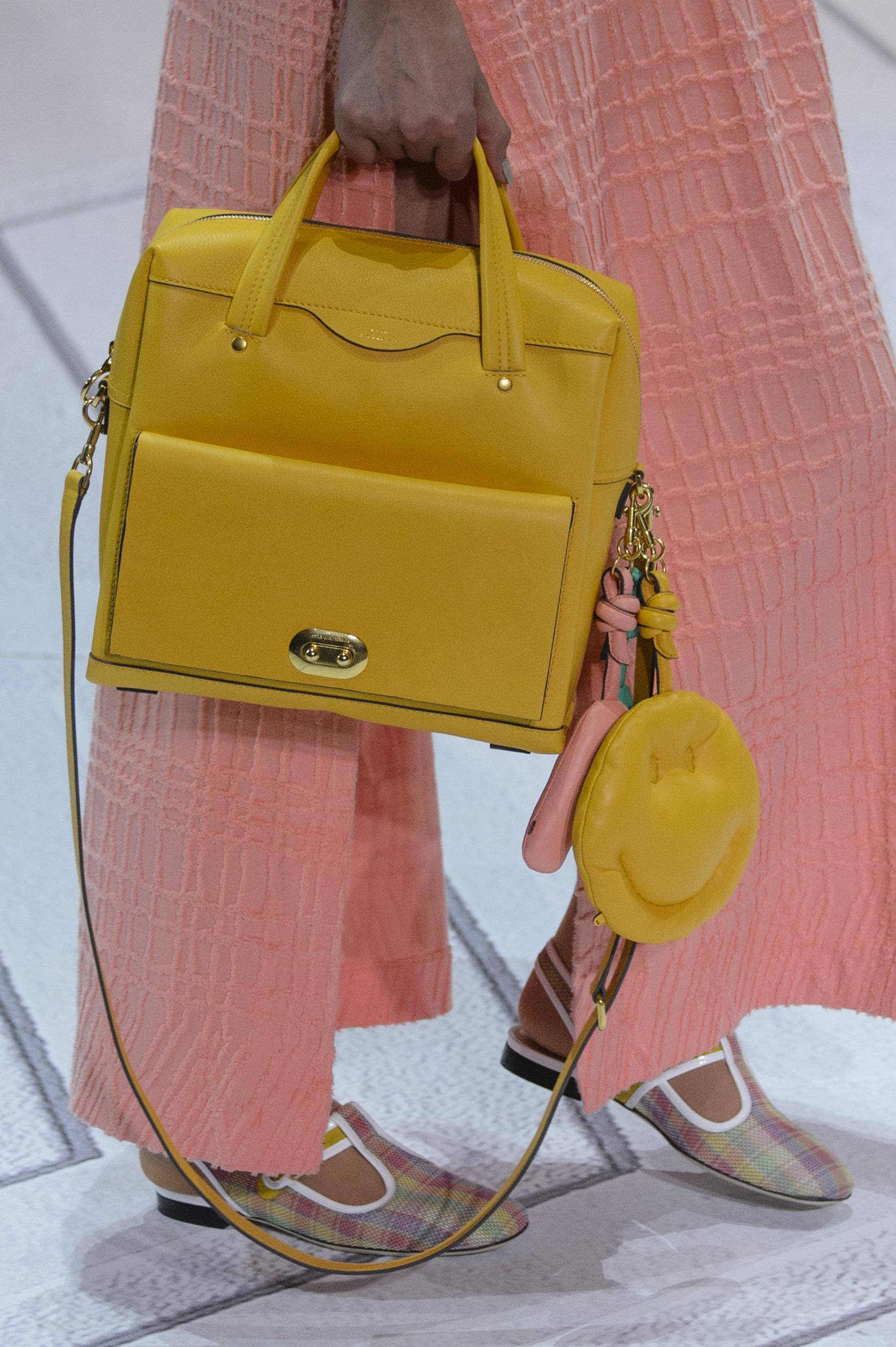 Кожаная сумка женская желтая