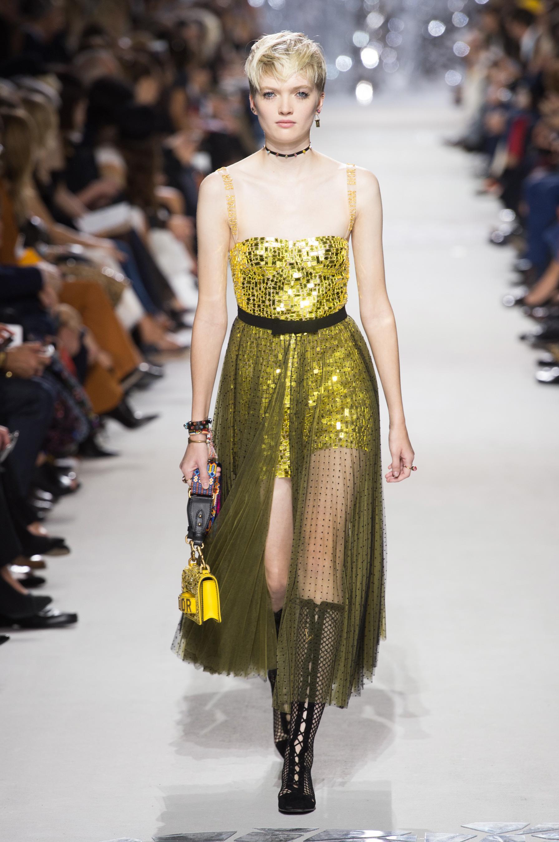 Christian Dior весна лето 2018 желтое платье