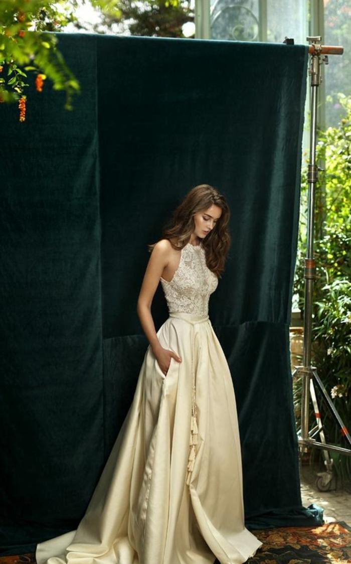 Свадебное платье айвори атласное