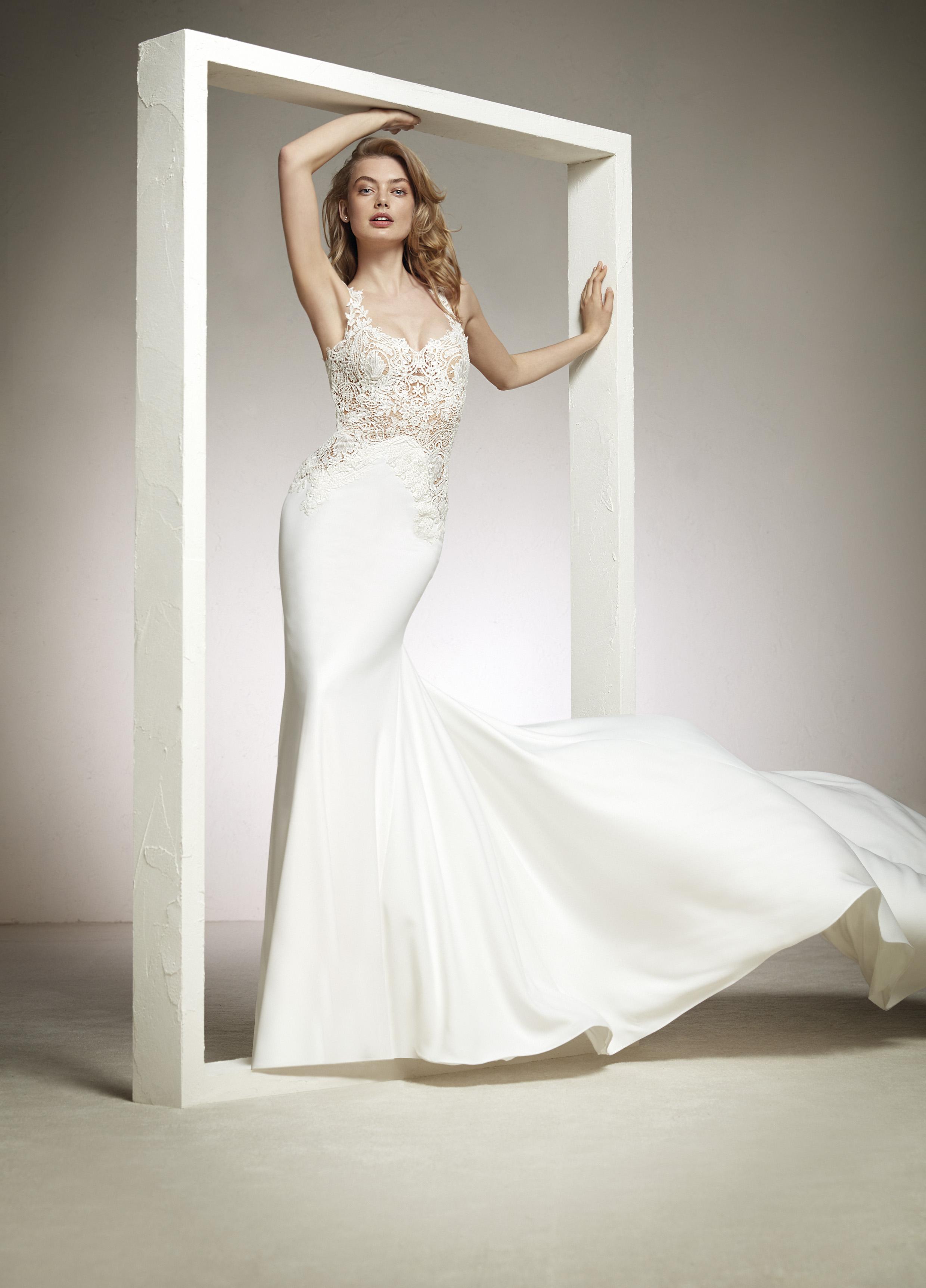 Свадебное платье рыбка с ажурным лифом