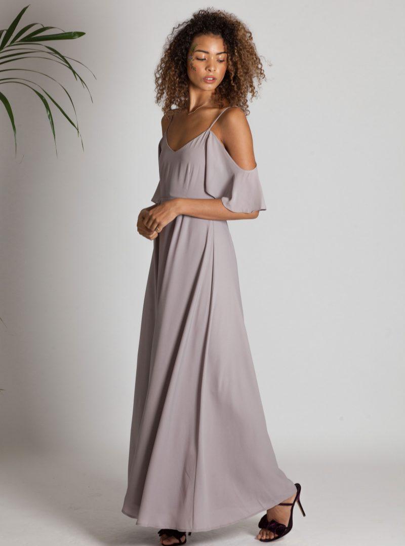 Серое платье длинное в бельевом стиле