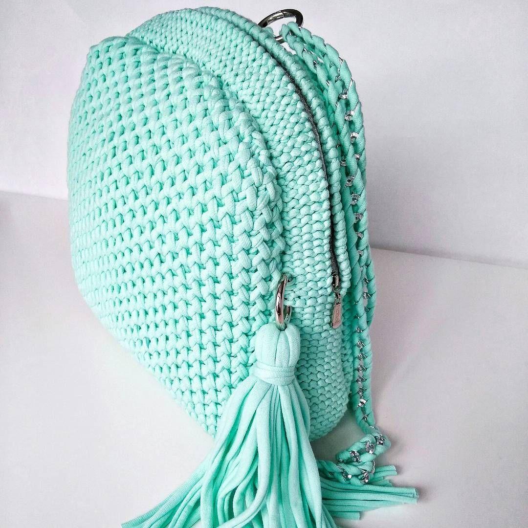 Вязаный рюкзак бирюзовый