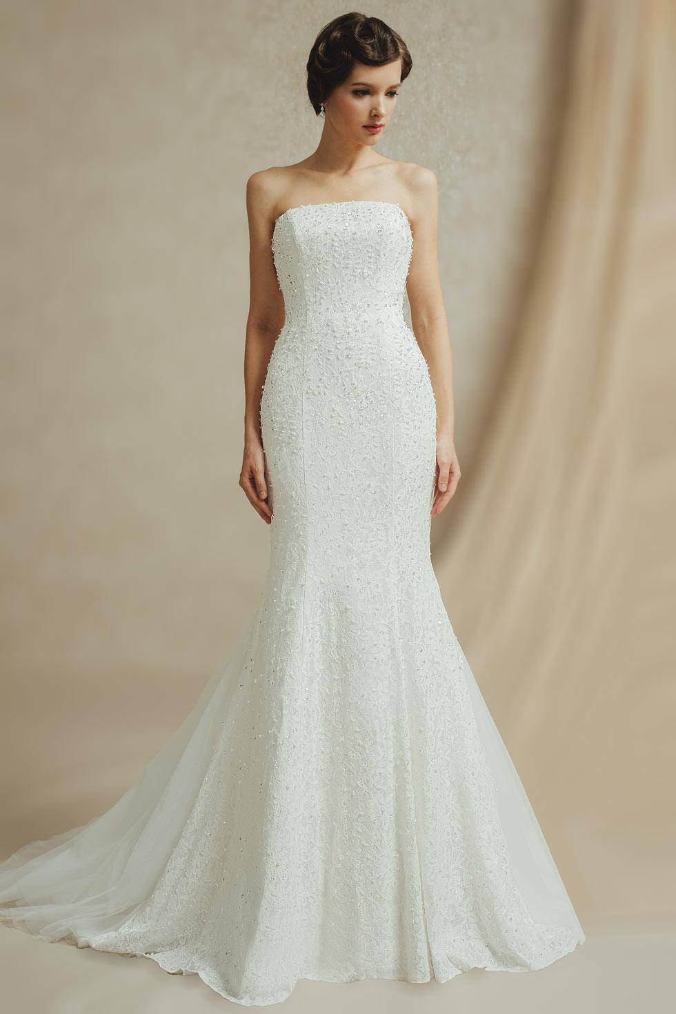 Свадебное платье рыбка с бисером