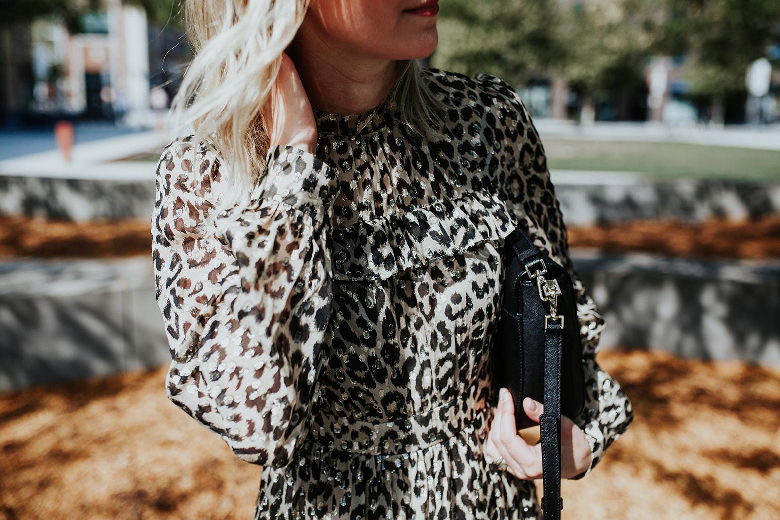 Платье леопардовое блестящее
