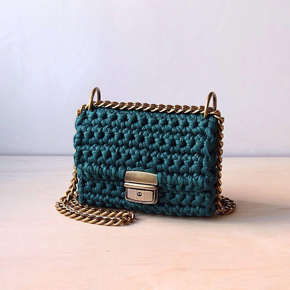 Вязаная сумка на цепочке