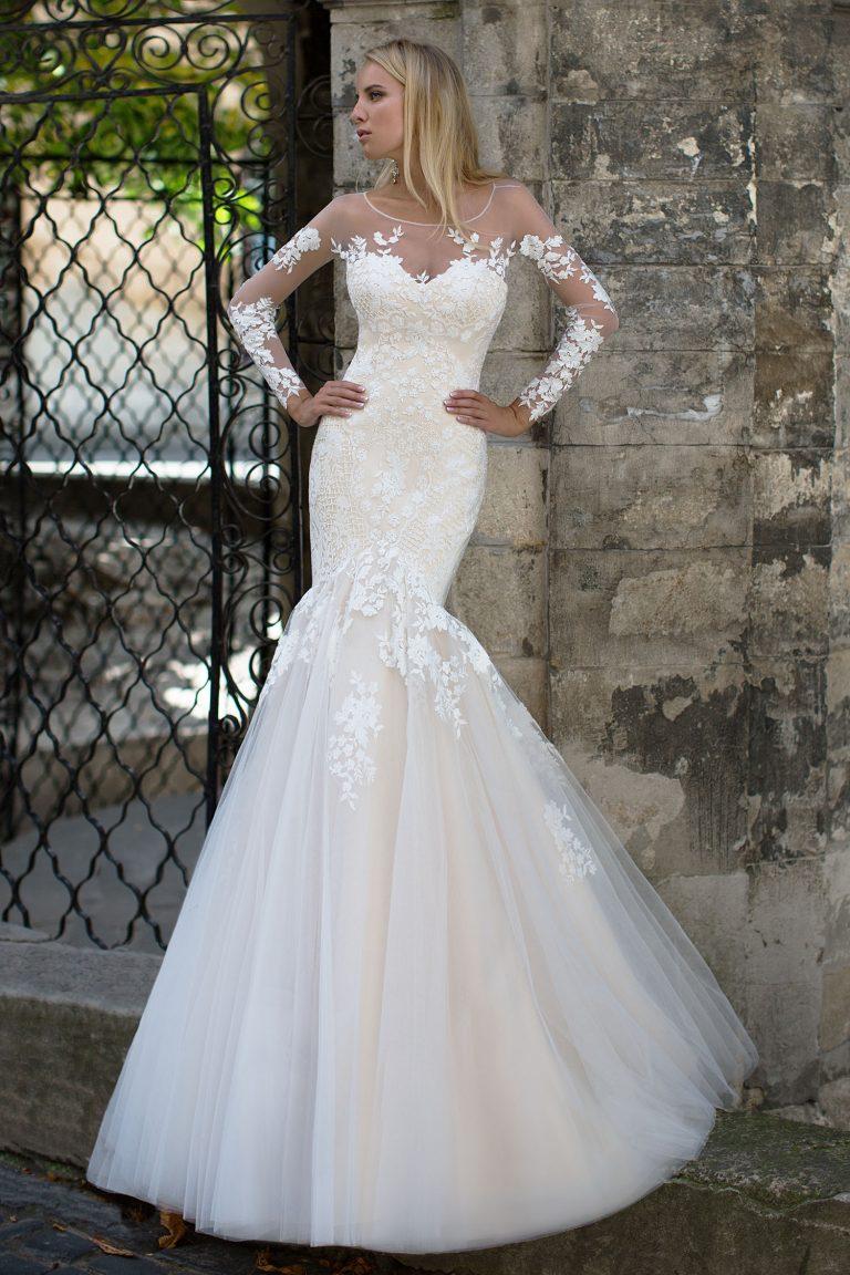 Свадебное платье рыбка цветочное