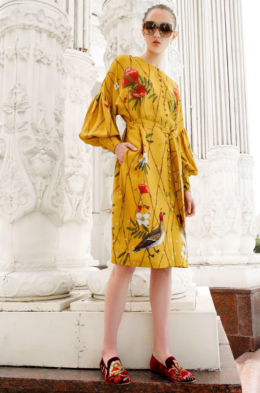 Повседневное платье с цветочным принтом желтое