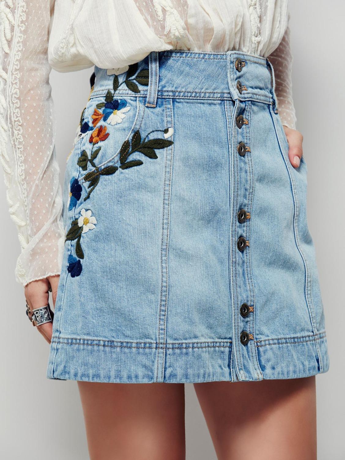 Юбка бохо джинсовая с вышивкой