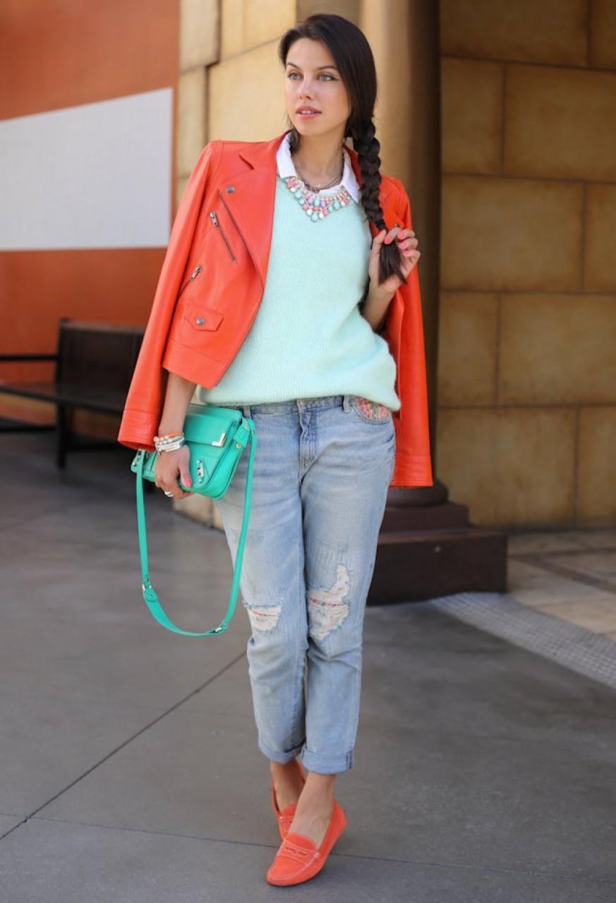 Мокасины женские с джинсами