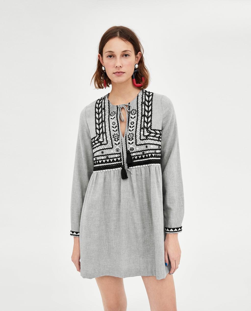 Серое платье этно