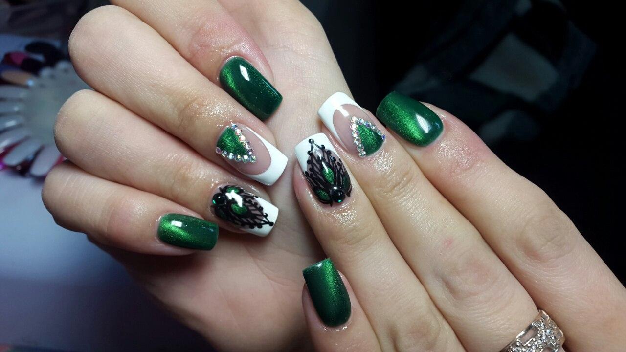 Зеленый френч ажурный