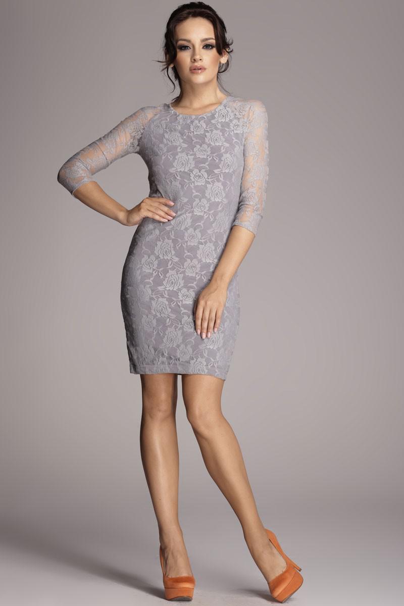 Серое платье гипюровое