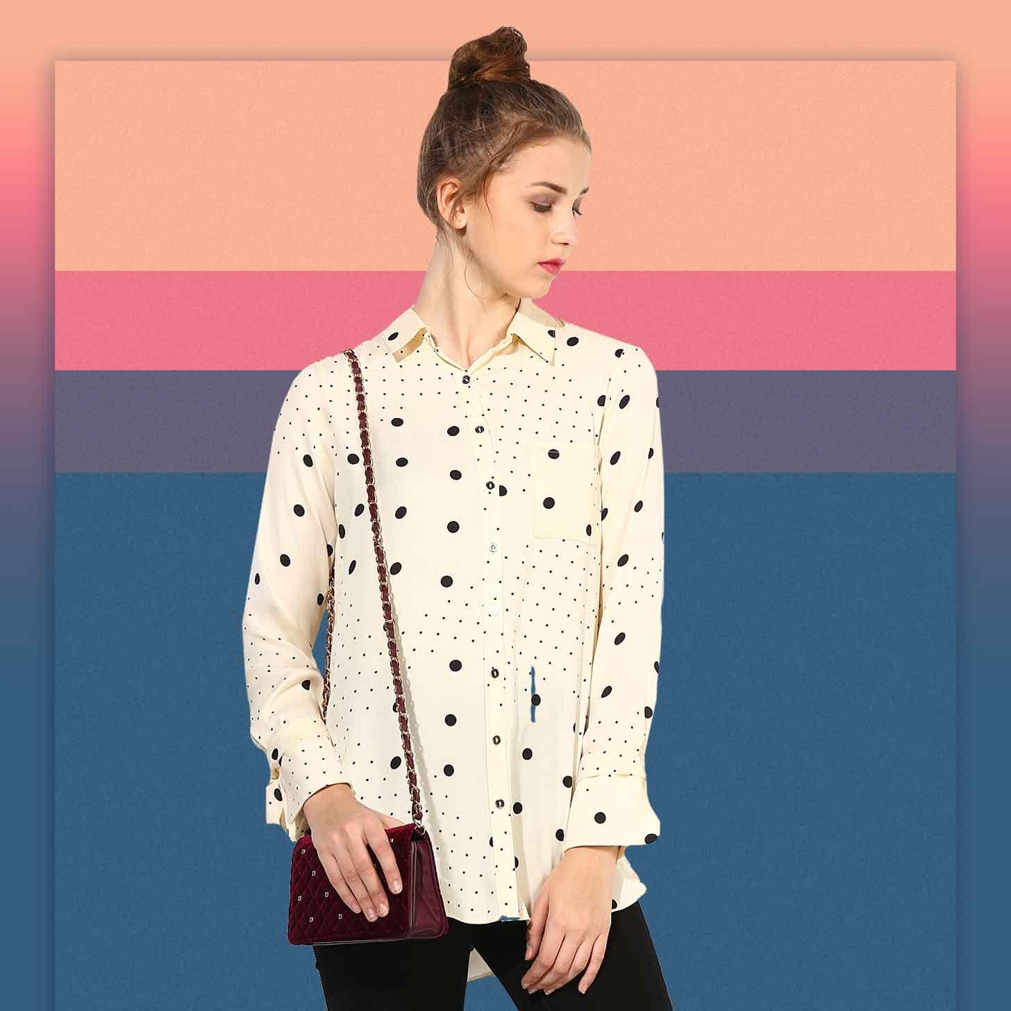 Блузка в горошек комбинированная