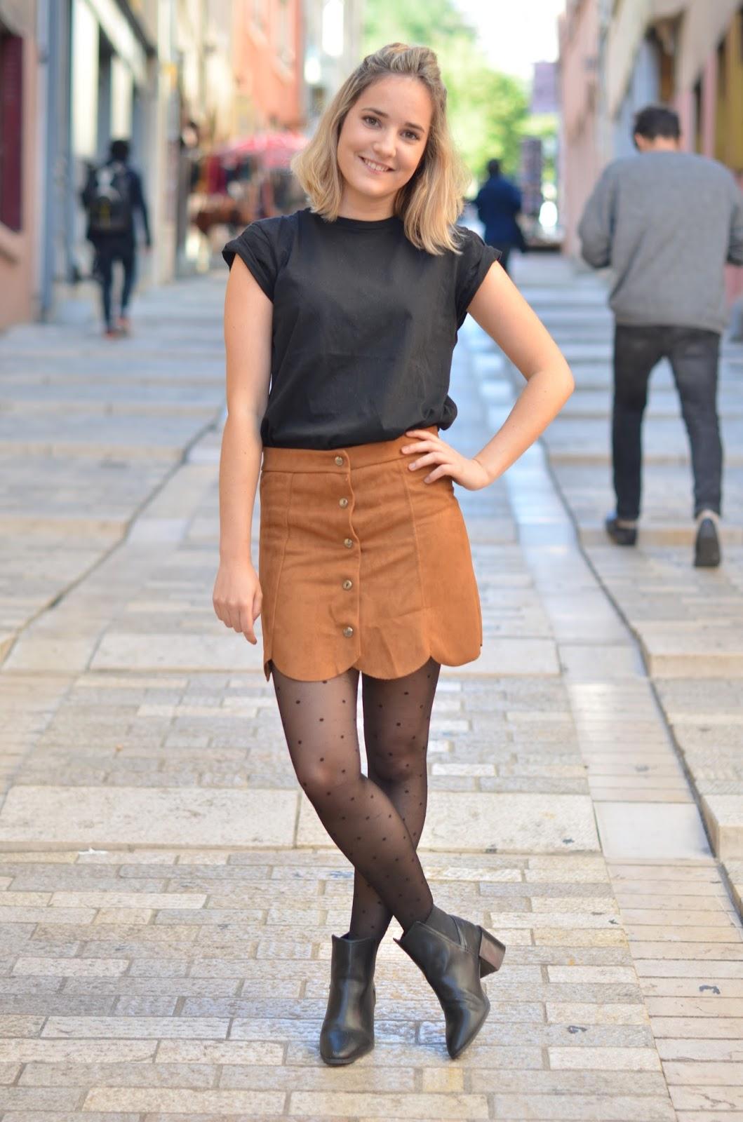 Юбка с футболкой коричневая