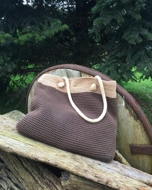 Вязаная сумка коричнево-бежевая