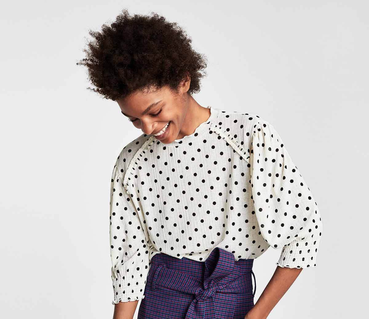 Блузка в горошек летняя