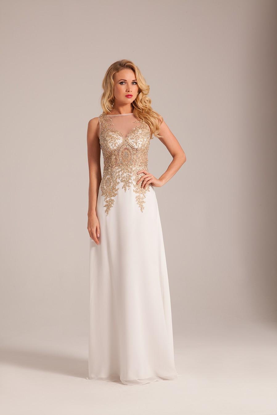 Свадебное платье айвори с декором на лифе