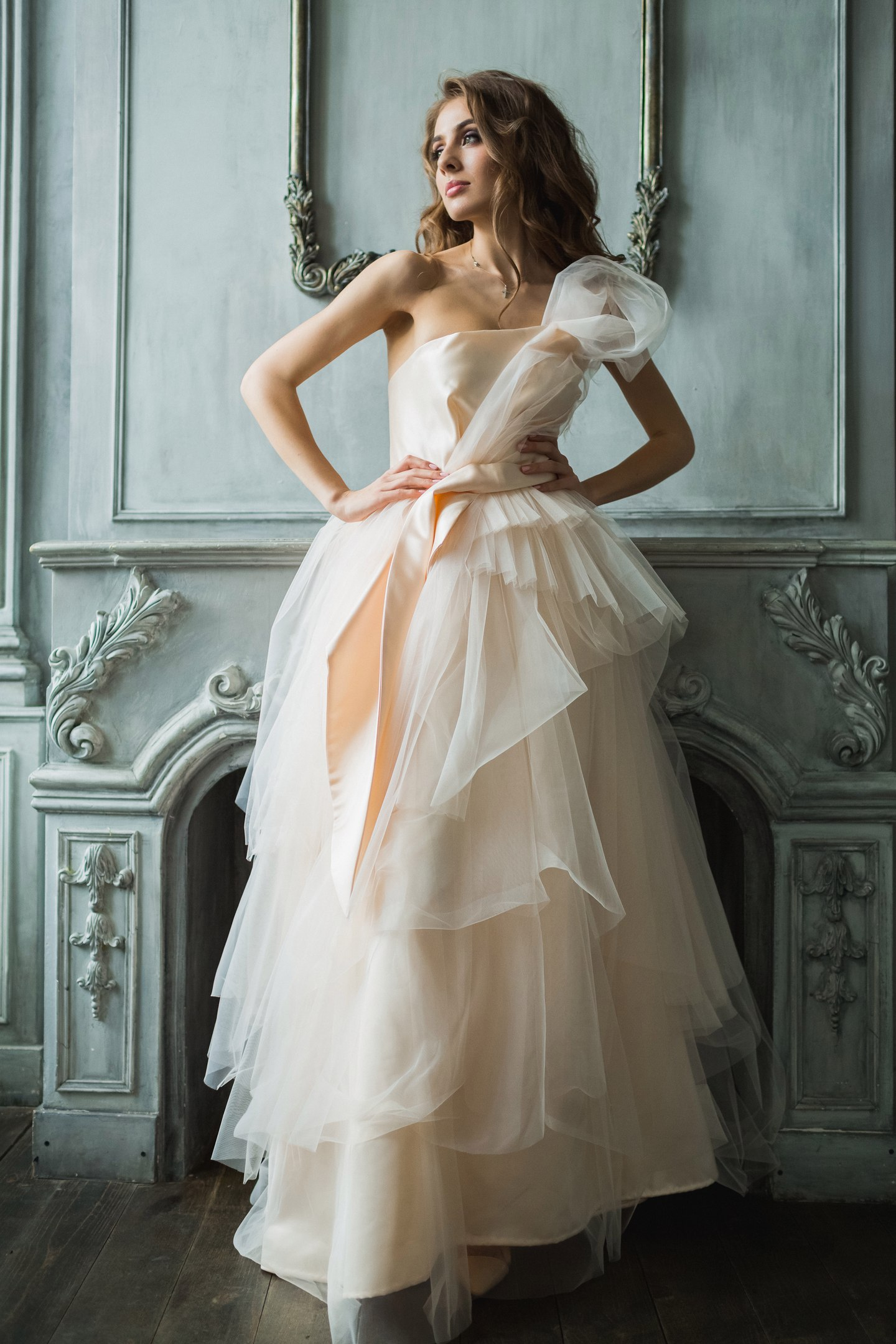 Свадебное платье айвори модное пышное