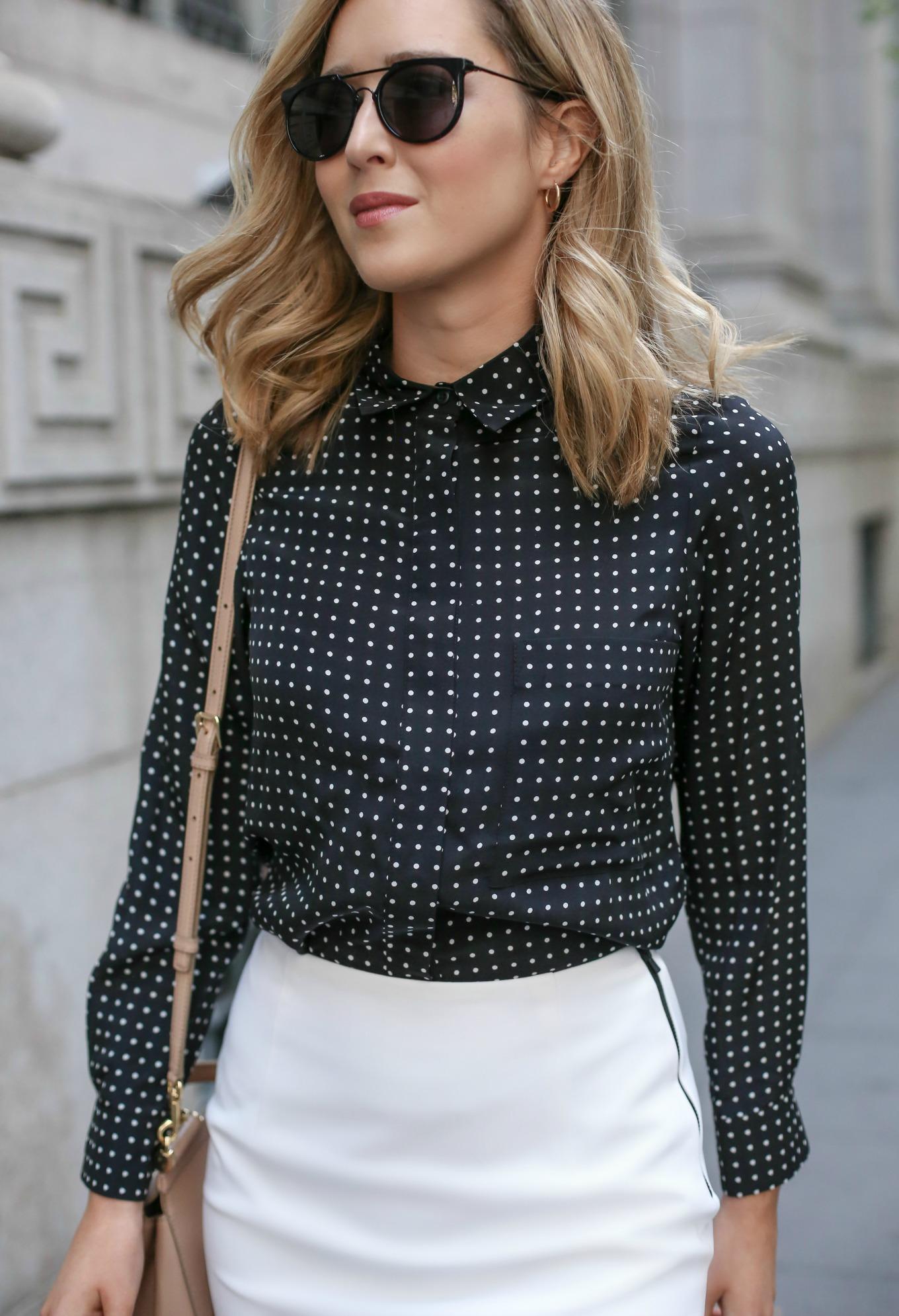 Блузка в горошек офисная