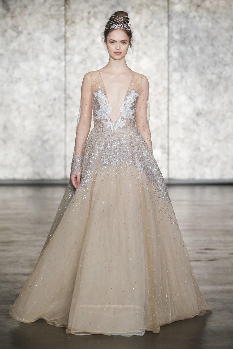 Свадебное платье айвори с пайетками