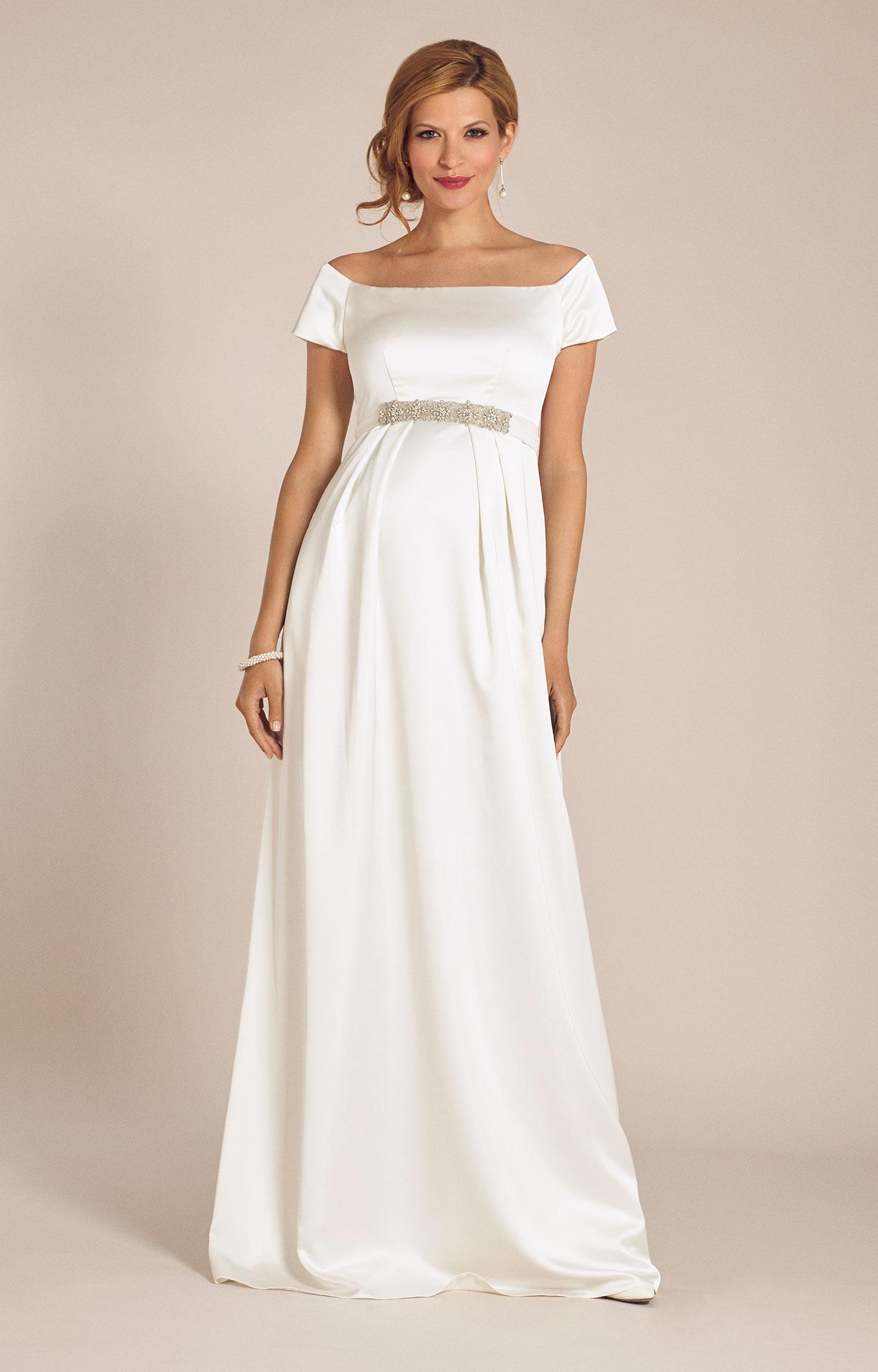 Свадебное платье для беременных с открытыми плечами
