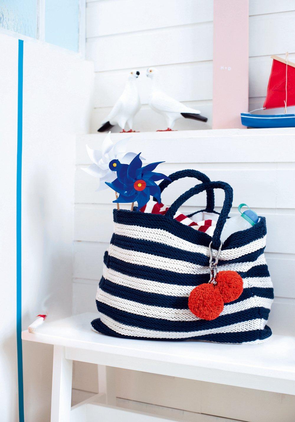 Вязаная сумка полосатая
