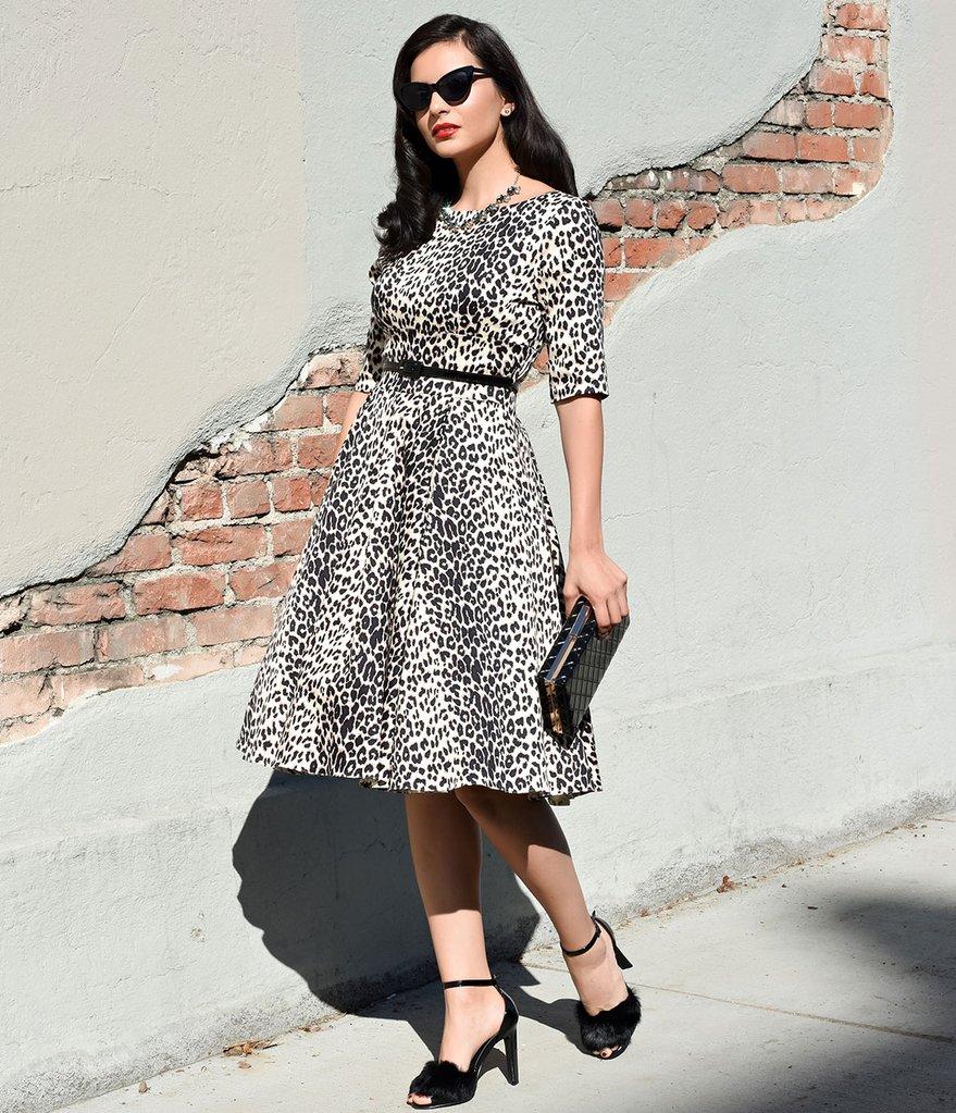 Платье леопардовое ретро