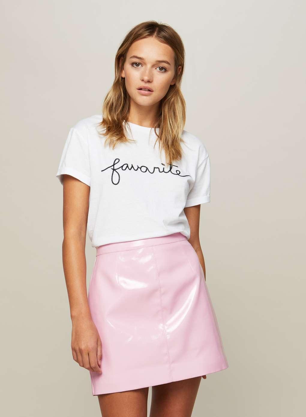 Юбка с футболкой розовая