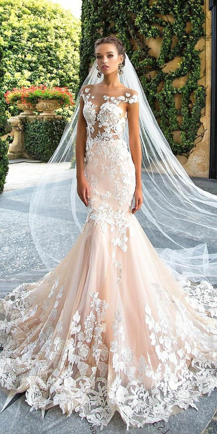Свадебное платье рыбка розовое