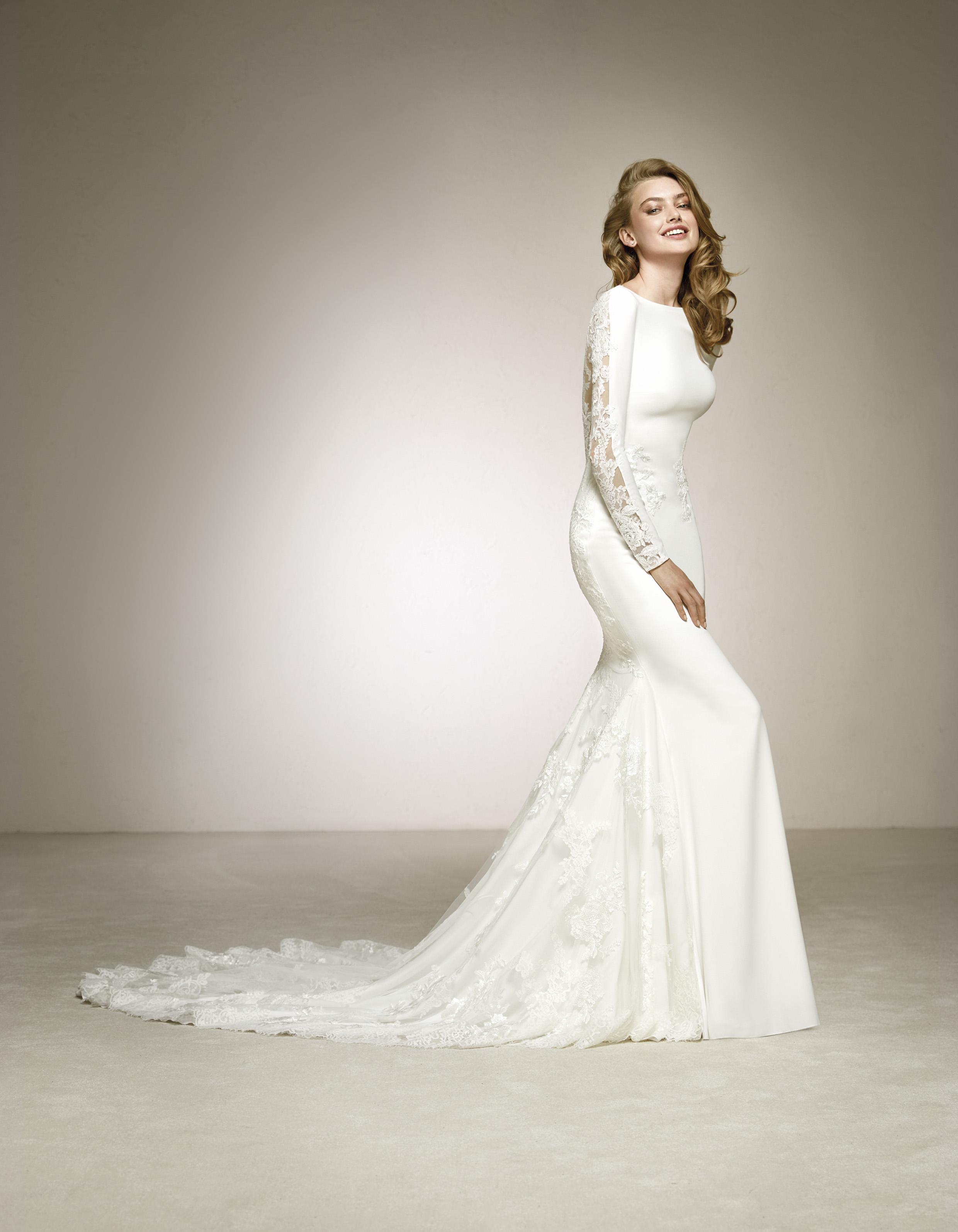 Свадебное платье рыбка с длинными рукавами