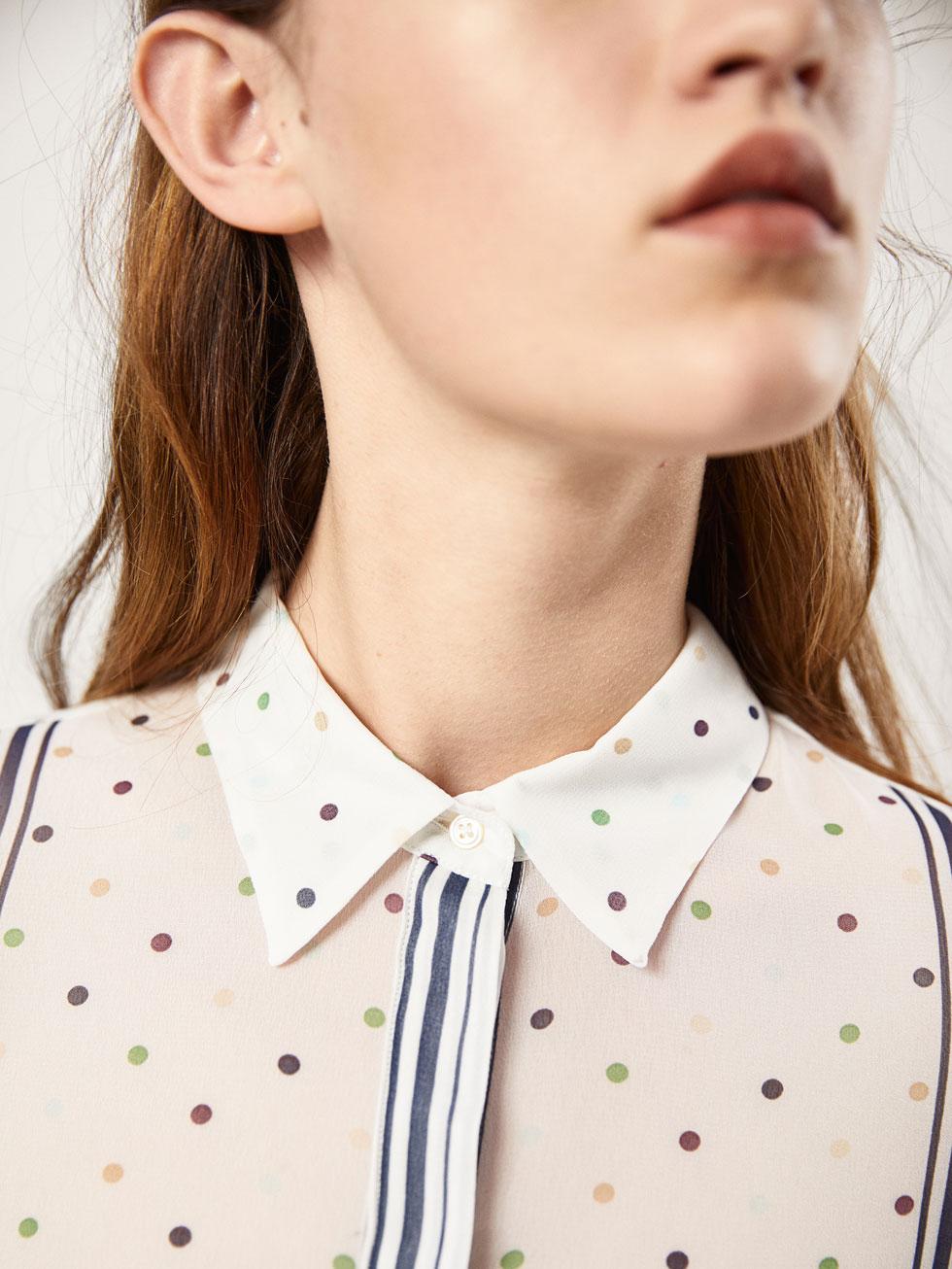 Блузка в горошек разноцветная