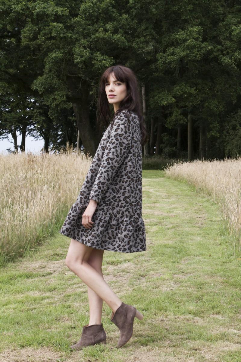 Платье леопардовое серое