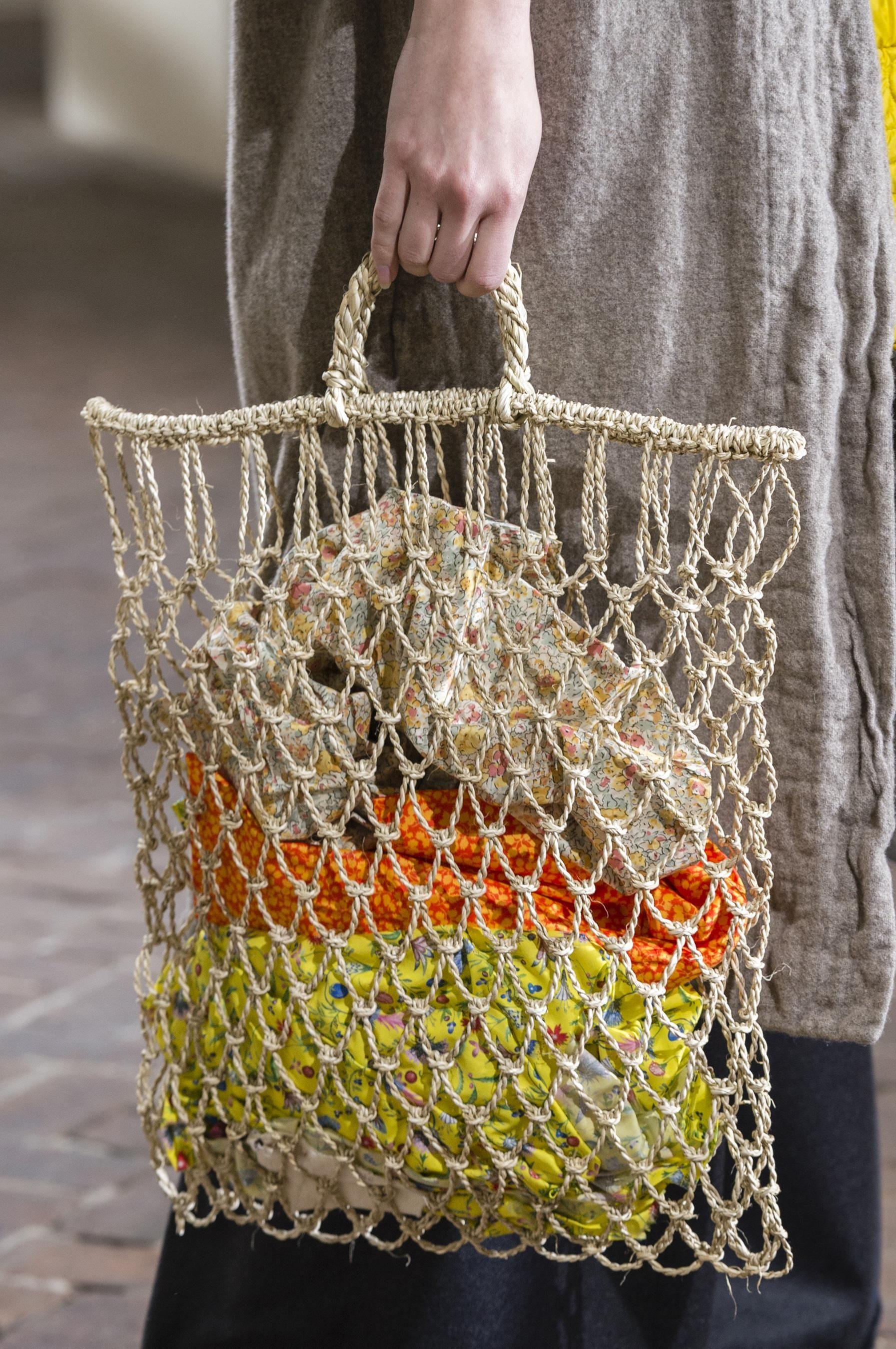 Вязаная сумка сетка бежевая