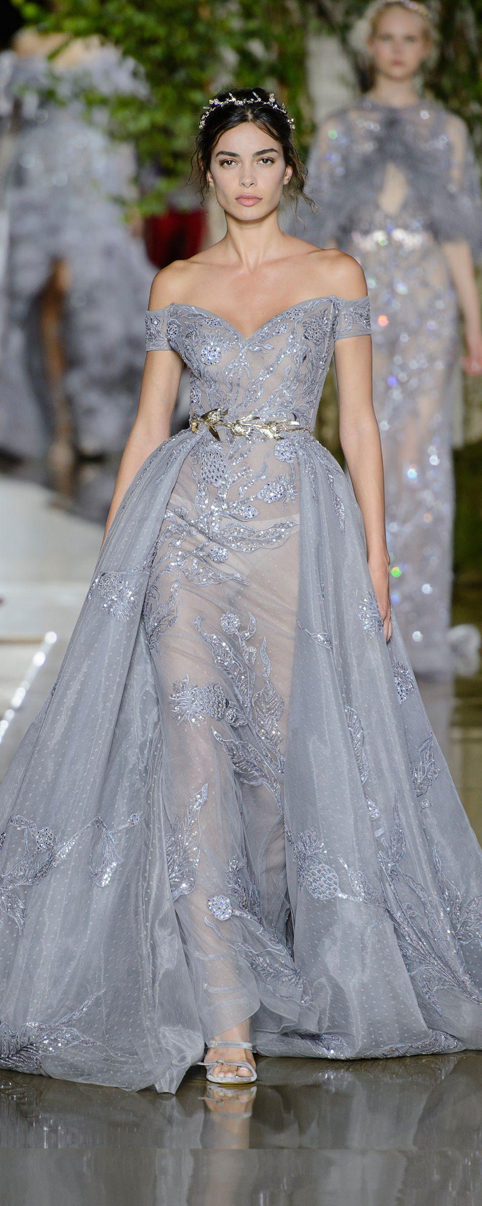 Серое платье свадебное блестящее