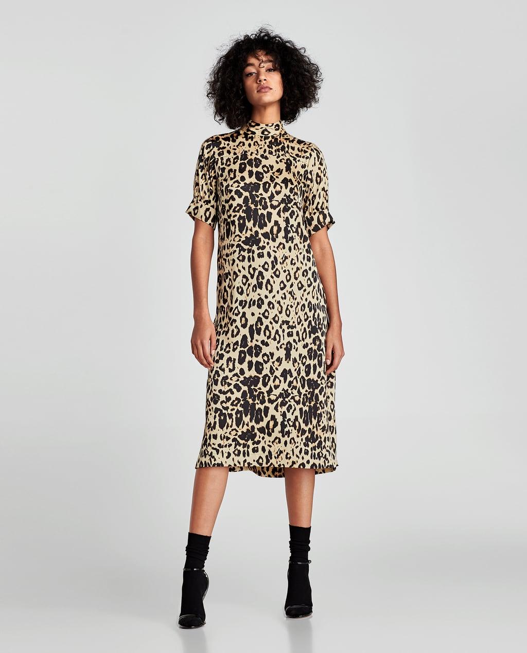 Платье леопардовое с воротником