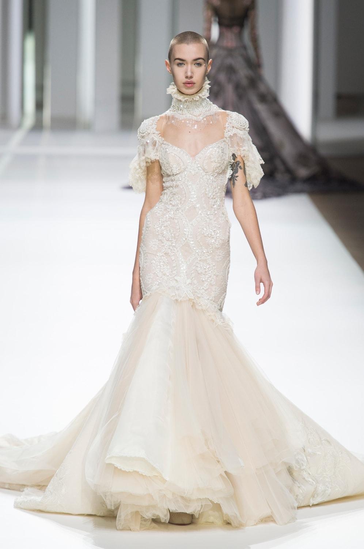 Свадебное платье рыбка с воротником