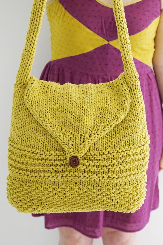 Вязаная сумка желтая