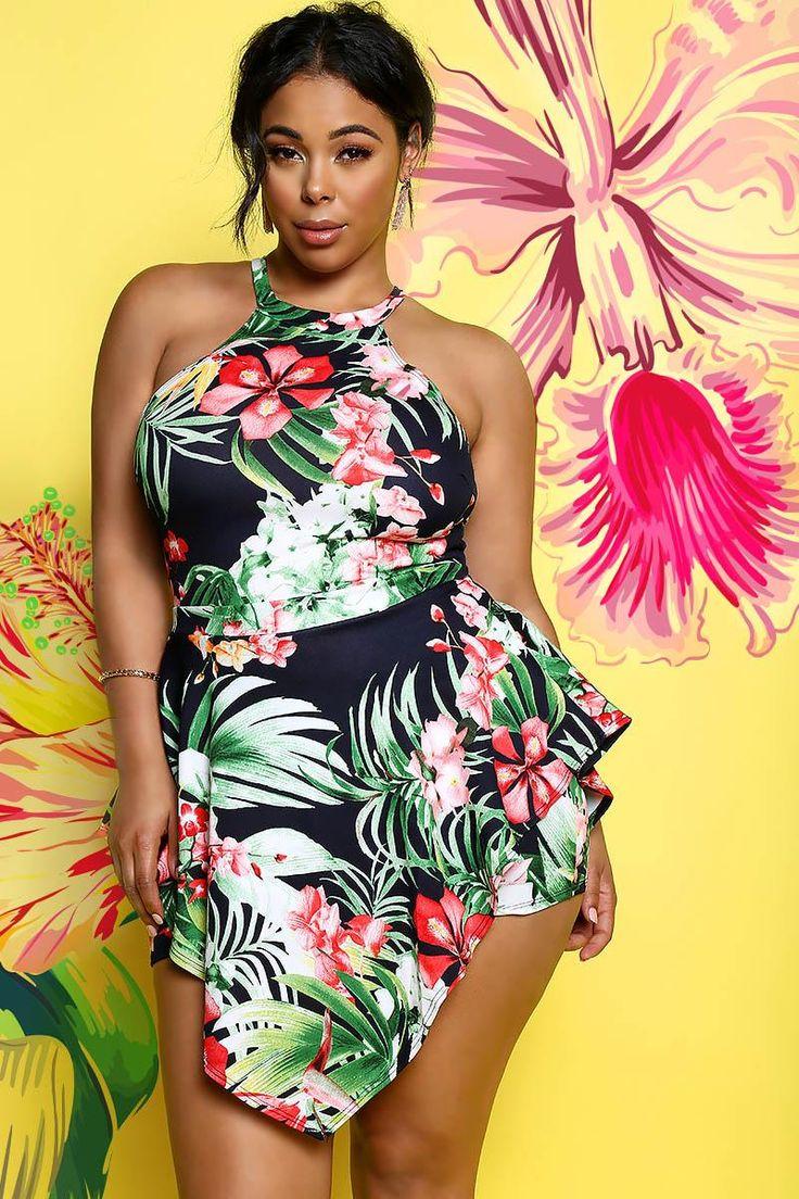 Купальник платье для полных с цветами